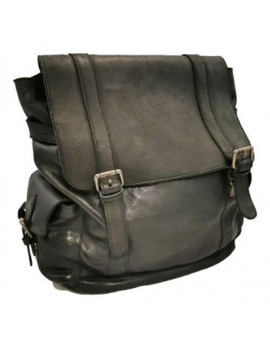 Rustic leather large backpack. Black. (17 02 34)
