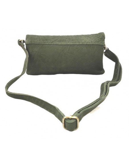 Small De Martino distressed leather fold over clutch and crossbody bag  (8251)