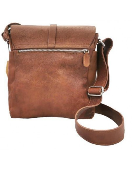 Valentina buffalo leather crossbody bag with flap (19403)