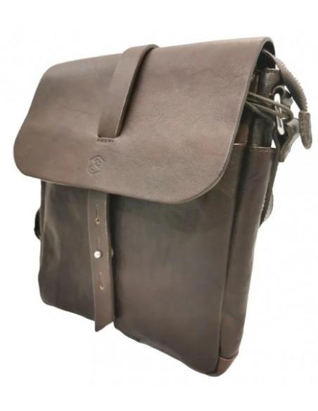 Small Valentina buffalo leather crossbody bag with flap (19404)