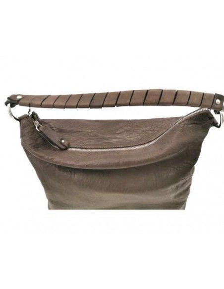 De Martino large distressed leather shoulder and crossbody bag (65990)