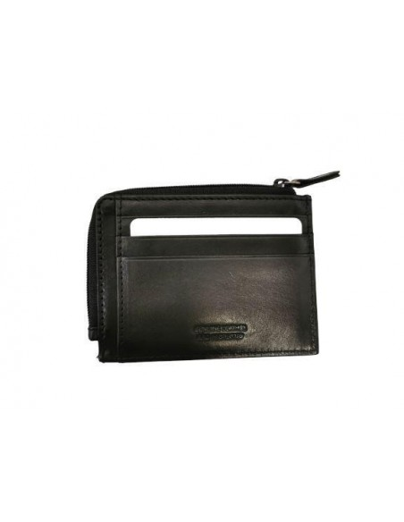 Buffalo leather credit card holder with zip compartment (kt021)