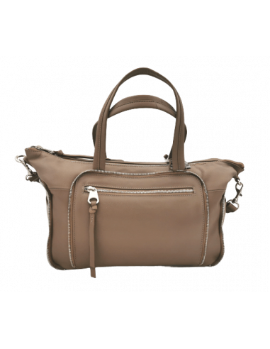 Soft leather handbag with zip detailing