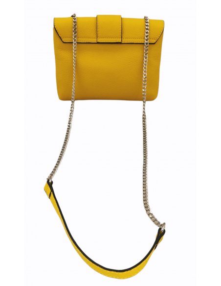 De Martino double compartment crossbody bag with chain and leather strap (527)