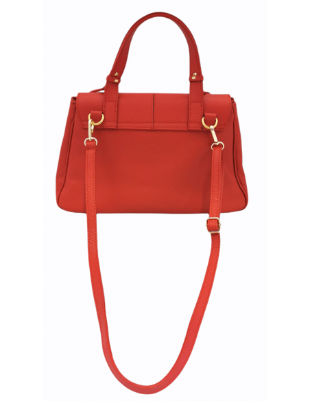 De Martino pebbled leather modern handbag with safety clip (529)