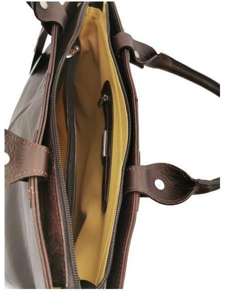 Large Valentina buffalo leather handbag and shoulder bag (1900)