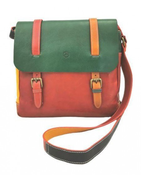 Multicolour Valentina buffalo leather crossbody bag with flap (19272)